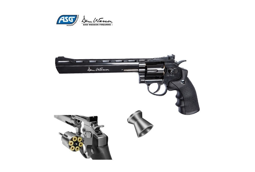 "REVOLVER ASG DAN WESSON 8"" PELLET AIRGUN BLACK"