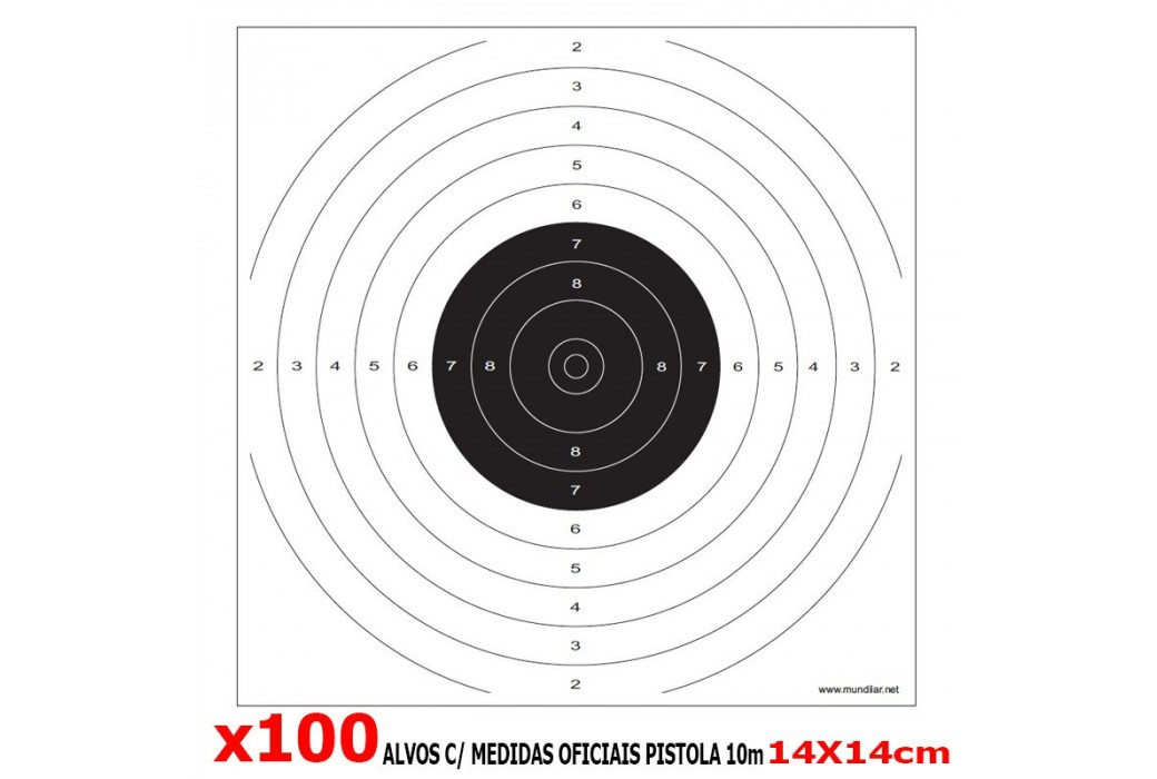 AIR GUN COMP. TARGETS 10m PISTOL 100pcs 14X14CM