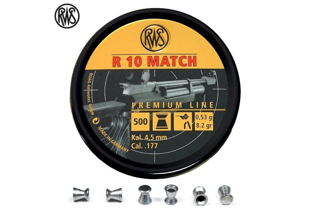 BALINES RWS R10 MATCH CARABINA 4.50mm (.177) 500PCS