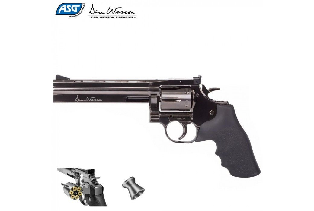 "REVOLVER ASG DAN WESSON 715 6"" PELLET AIRGUN STEEL GREY"