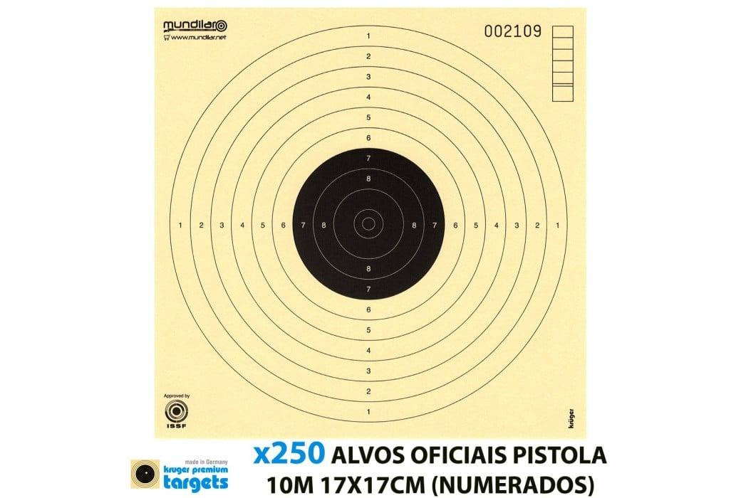 KRUGER ALVOS COMP. PISTOLA 10m 17X17CM 250pcs (NUMERADOS)
