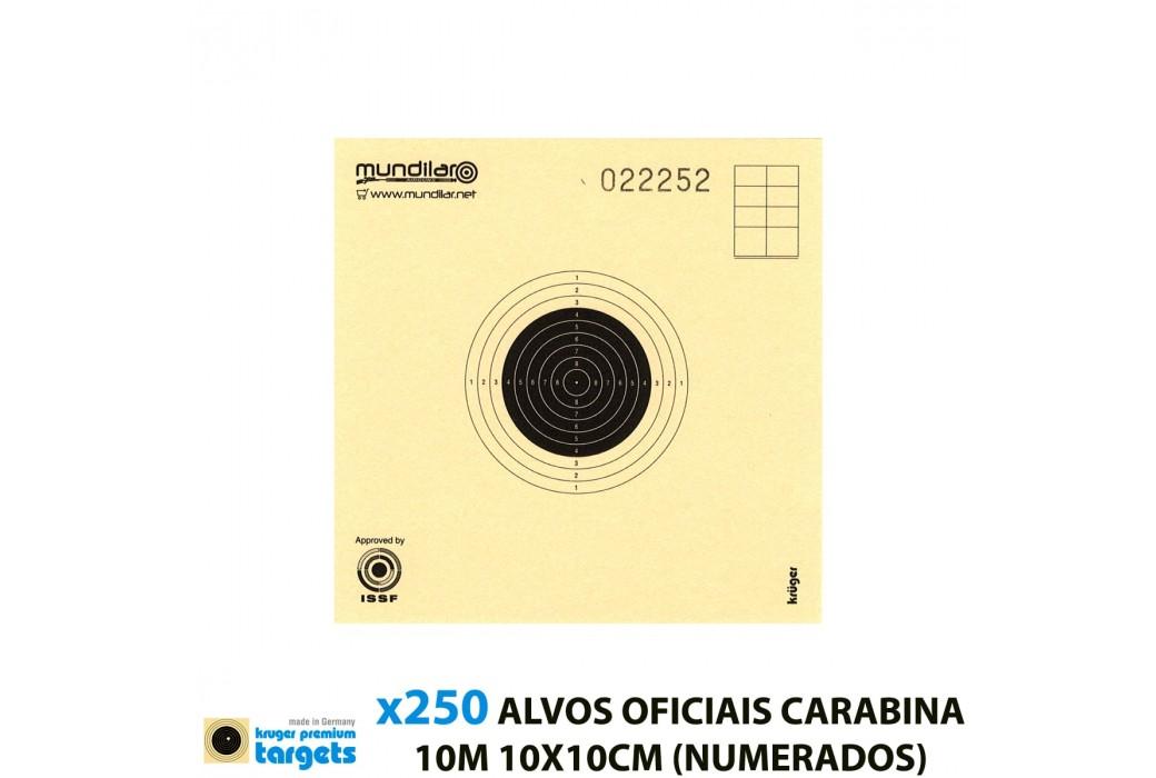 KRUGER ALVOS COMP. CARABINA PRECISÃO 10m 10X10CM 250pcs (NUMERADOS)