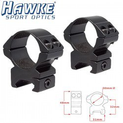 HAWKE Two-Piece Mount 30mm WEAVER MEDIUM