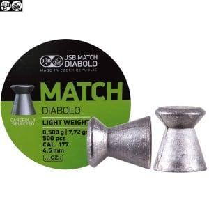 BALINES JSB MATCH DIABOLO 500pcs 4.49mm (.177) LIGHT WEIGHT