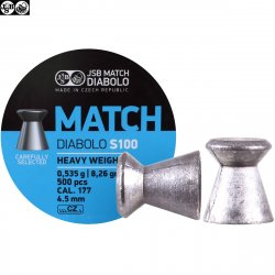 MUNITIONS JSB MATCH DIABOLO S100 500pcs 4.49mm (.177) HEAVY WEIGHT