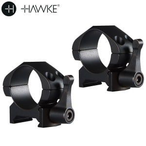 """HAWKE PRECISION STEEL RING MOUNTS 1"""" 2PC WEAVER LOW - QUICK RELEASE"""