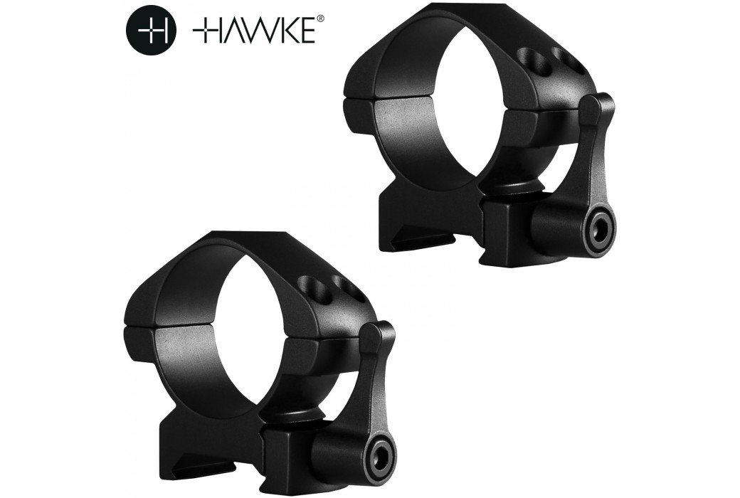 HAWKE PRECISION STEEL RING MOUNTS 30mm 2PC WEAVER MEDIUM - QUICK RELEASE