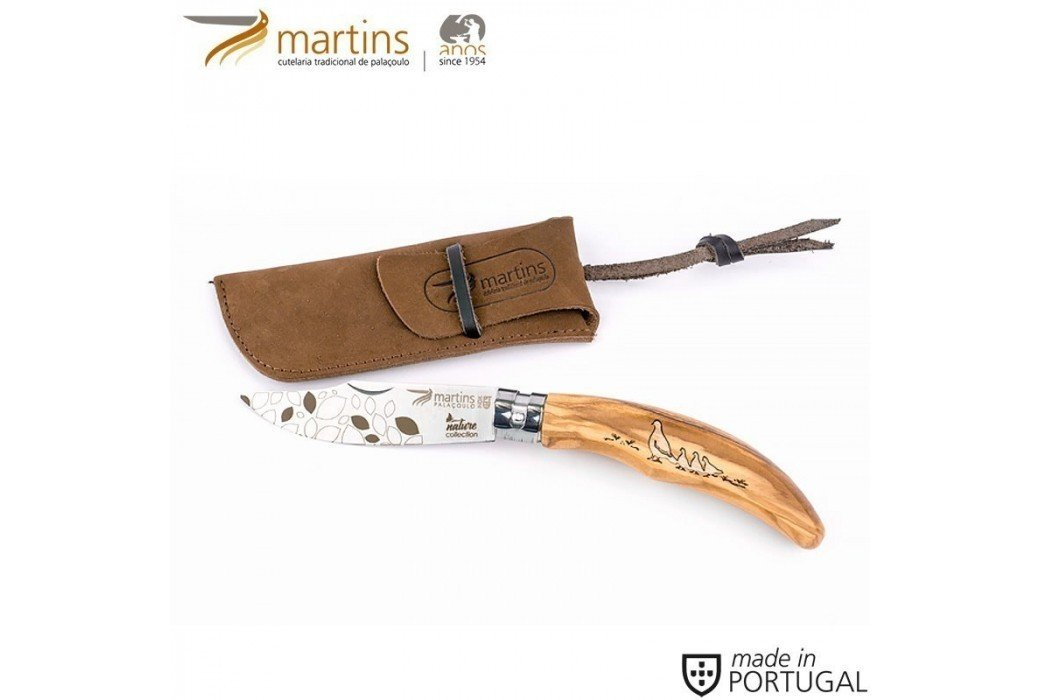 MARTINS POCKET KNIFE ELLEGANCE M NATURE PARTRIDGE 8CM (LEATHER POUCH)