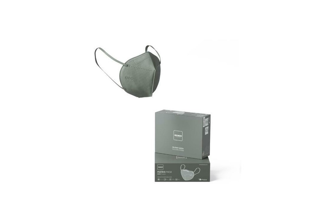 PACK 10 DISPOSABLE MASKS KN95 FFP2 HIGH FILTRATION MILITARY GREEN