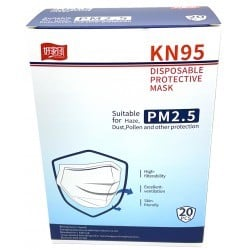 PACK 20 DISPOSABLE MASKS KN95 FFP2 HIGH FILTRATION WHITE
