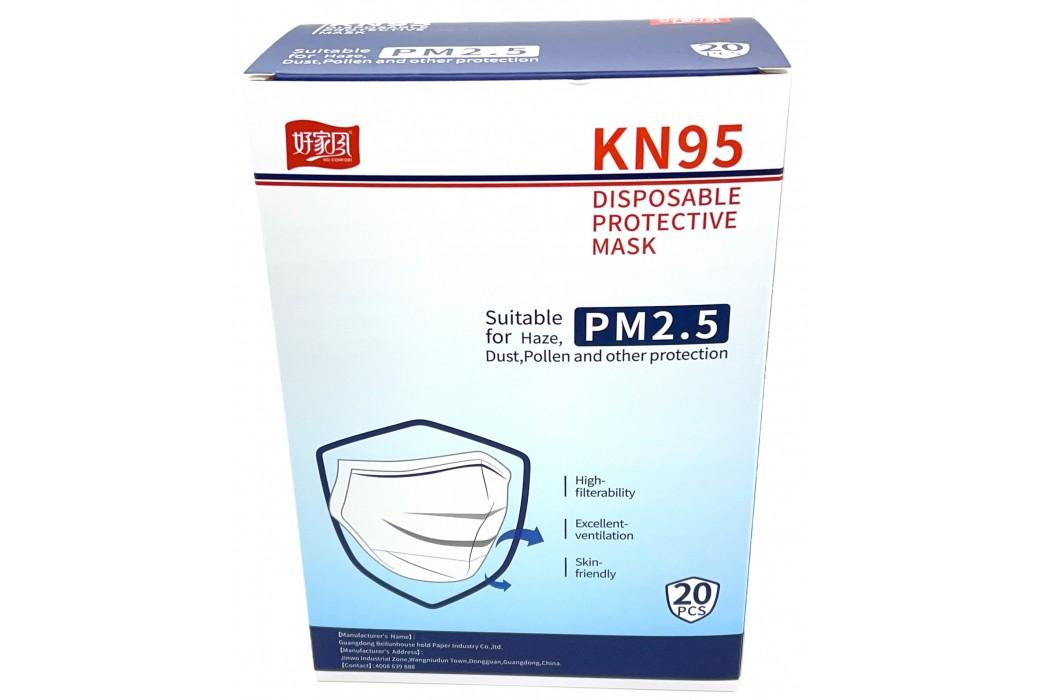 PACK 20 DISPOSABLE MASKS KN95 FFP2 HIGH FILTRATION WHITE