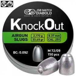 BALINES JSB KNOCK OUT SLUGS 6.35mm (.251) 33.49gr 150PCS