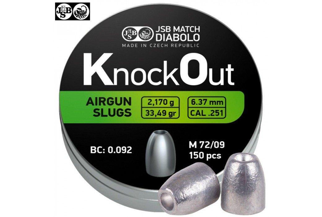Air gun pellets JSB KNOCK OUT SLUGS 6.35mm (.251) 33.49gr 150PCS