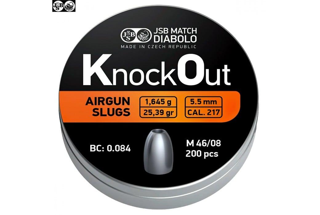 MUNITIONS JSB KNOCK OUT SLUGS 5.50mm (.216) 25.39gr 200PCS
