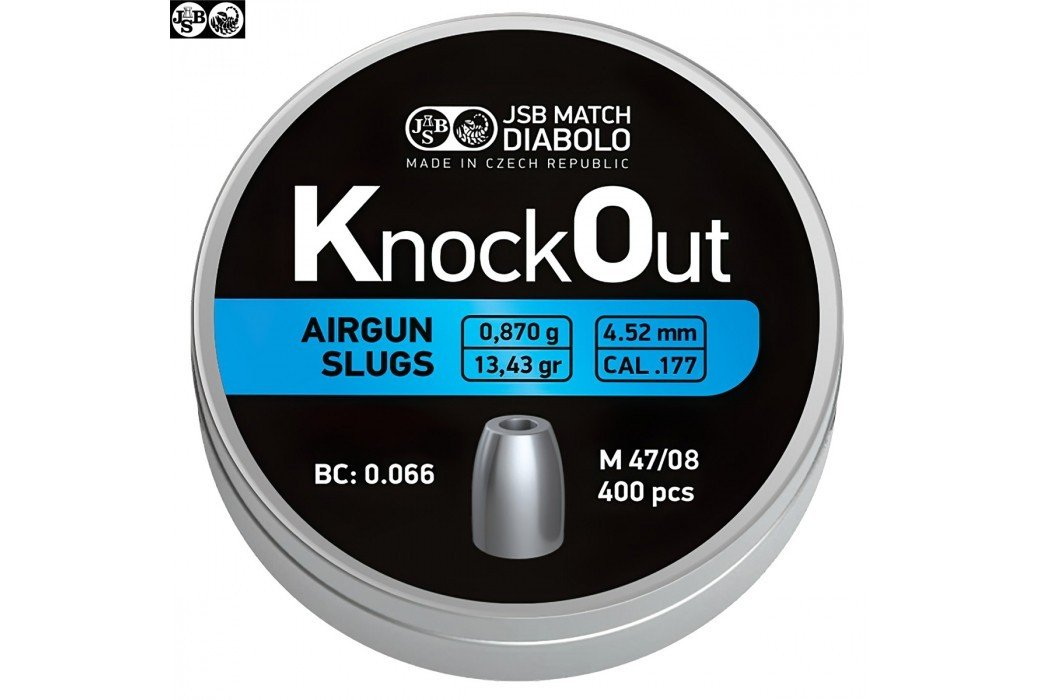 MUNITIONS JSB KNOCK OUT SLUGS 4.52mm (.177) 13.43gr 400PCS