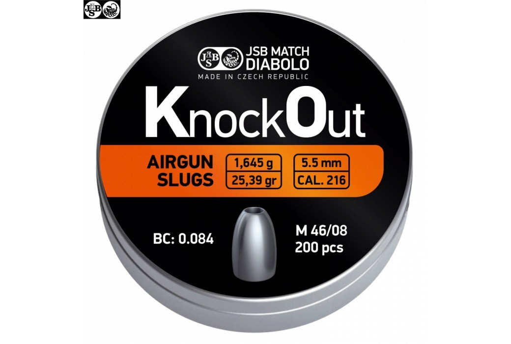 Air gun pellets JSB KNOCK OUT SLUGS 5.50mm (.216) 25.39gr 200PCS