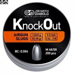 BALINES JSB KNOCK OUT SLUGS 5.50mm (.216) 25.39gr 200PCS