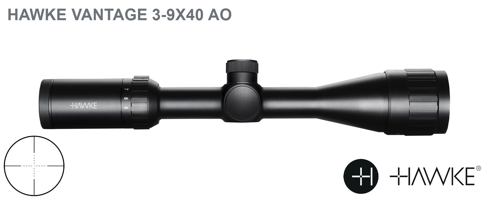 HAWKE VANTAGE 3-9X40 AO + 2PC HIGH MOUNTS
