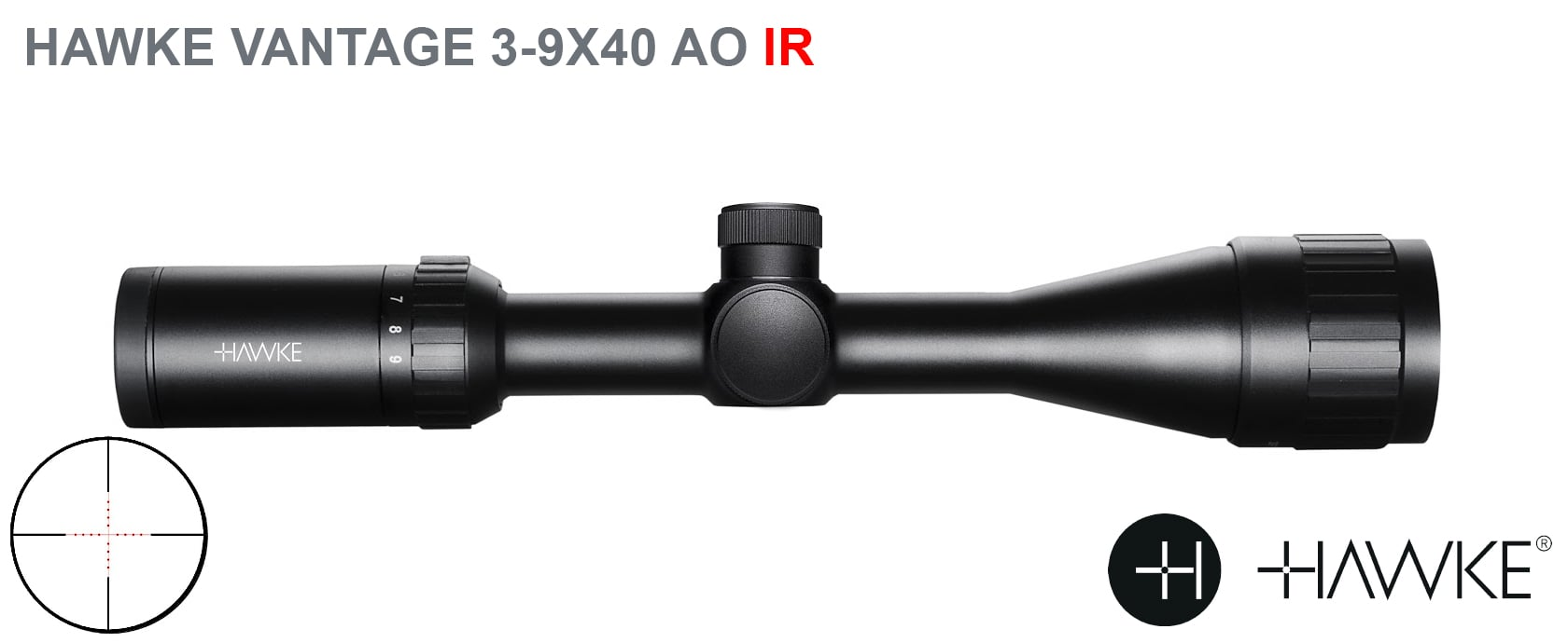 HAWKE VANTAGE 3-9X40 AO IR + 2PC HIGH MOUNTS